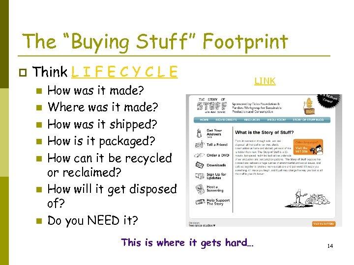 "The ""Buying Stuff"" Footprint p Think L I F E C Y C L"