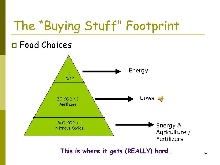 """The """"Buying Stuff"""" Footprint p Food Choices 1 CO 2 30 CO 2 ="""