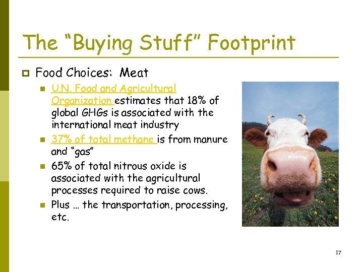 """The """"Buying Stuff"""" Footprint p Food Choices: Meat n n U. N. Food and"""