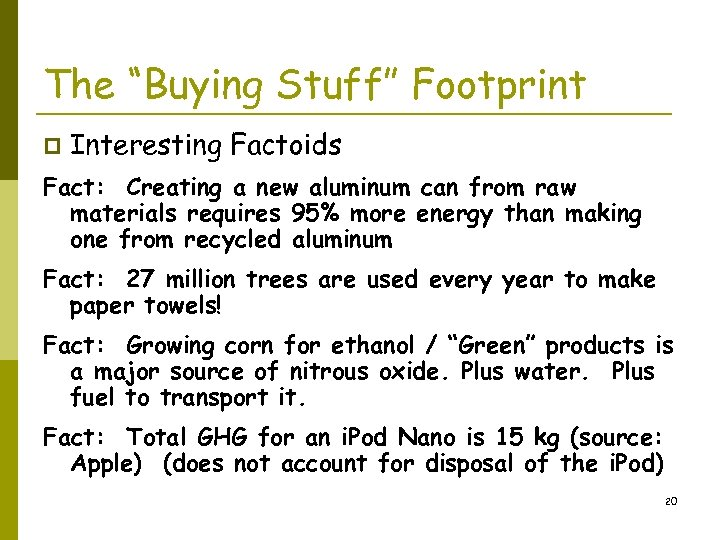 """The """"Buying Stuff"""" Footprint p Interesting Factoids Fact: Creating a new aluminum can from"""