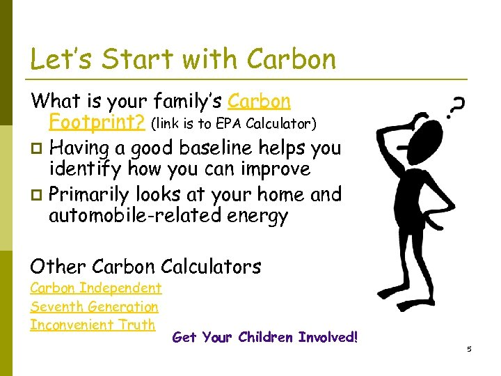 Let's Start with Carbon What is your family's Carbon Footprint? (link is to EPA