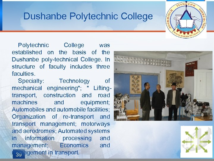 Dushanbe Polytechnic College was established on the basis of the Dushanbe poly-technical College. In