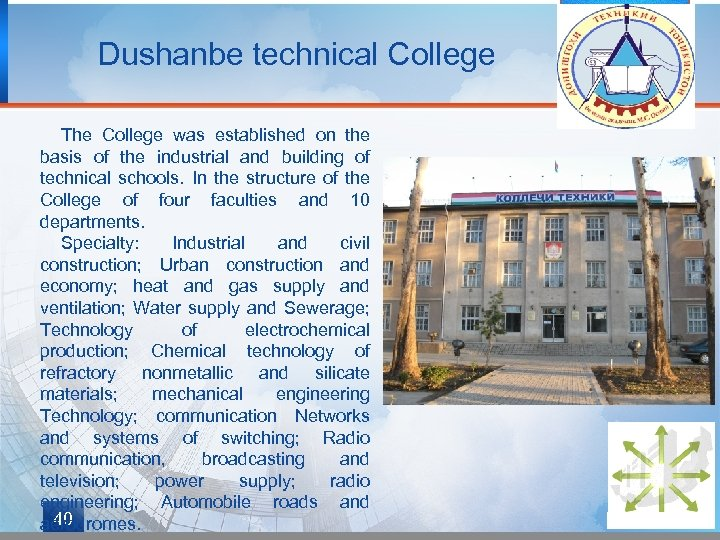 Dushanbe technical College The College was established on the basis of the industrial and