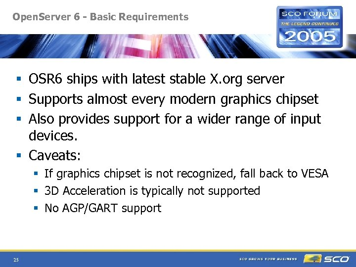 Open. Server 6 - Basic Requirements § OSR 6 ships with latest stable X.
