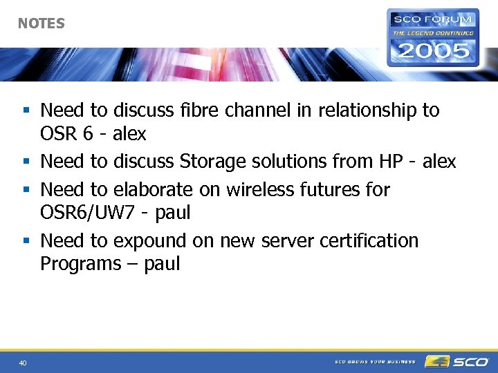 NOTES § Need to discuss fibre channel in relationship to OSR 6 - alex