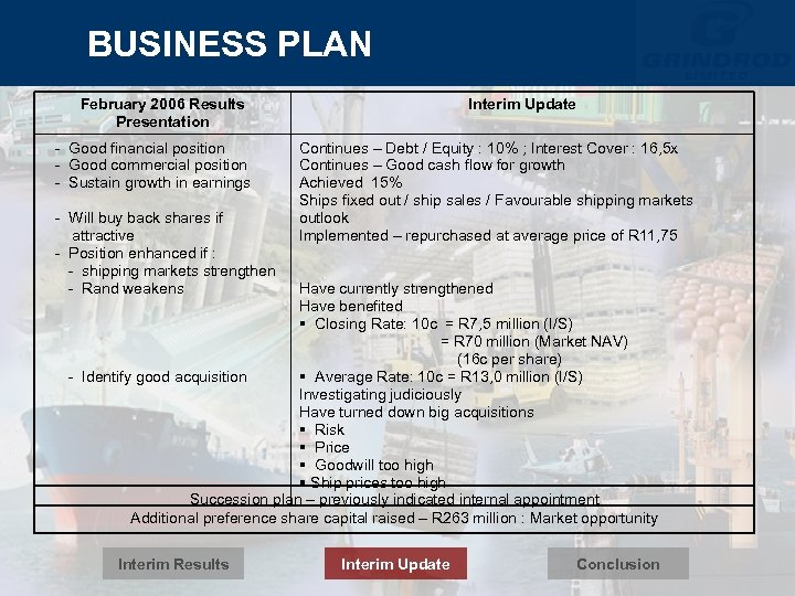 BUSINESS PLAN February 2006 Results Presentation - Good financial position - Good commercial position