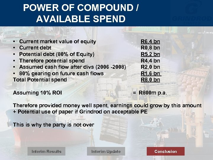 POWER OF COMPOUND / AVAILABLE SPEND • Current market value of equity • Current