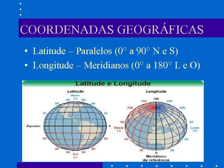 COORDENADAS GEOGRÁFICAS • Latitude – Paralelos (0° a 90° N e S) • Longitude