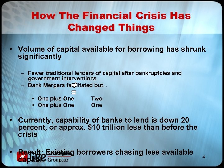 How The Financial Crisis Has Changed Things • Volume of capital available for borrowing
