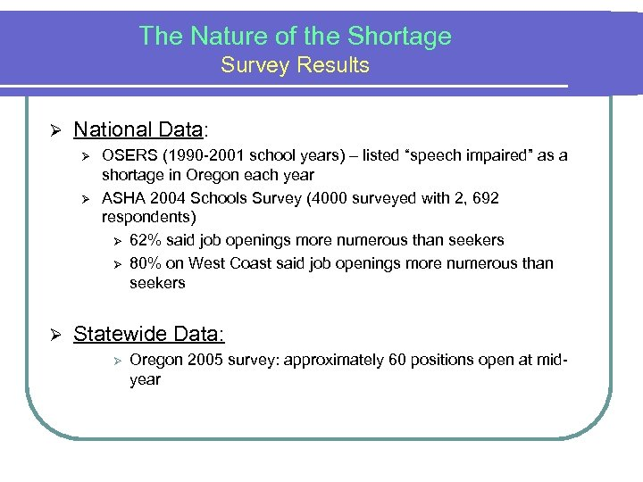 The Nature of the Shortage Survey Results Ø National Data: Ø Ø Ø OSERS