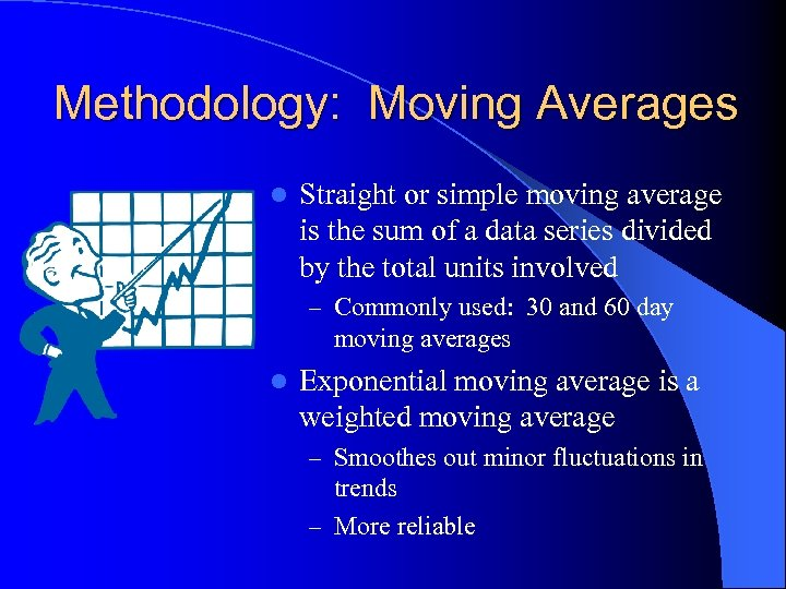 Methodology: Moving Averages l Straight or simple moving average is the sum of a