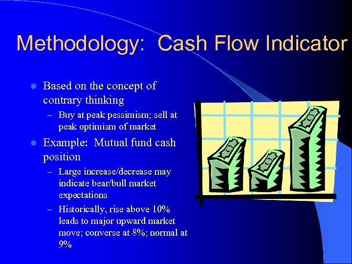 Methodology: Cash Flow Indicator l Based on the concept of contrary thinking – Buy