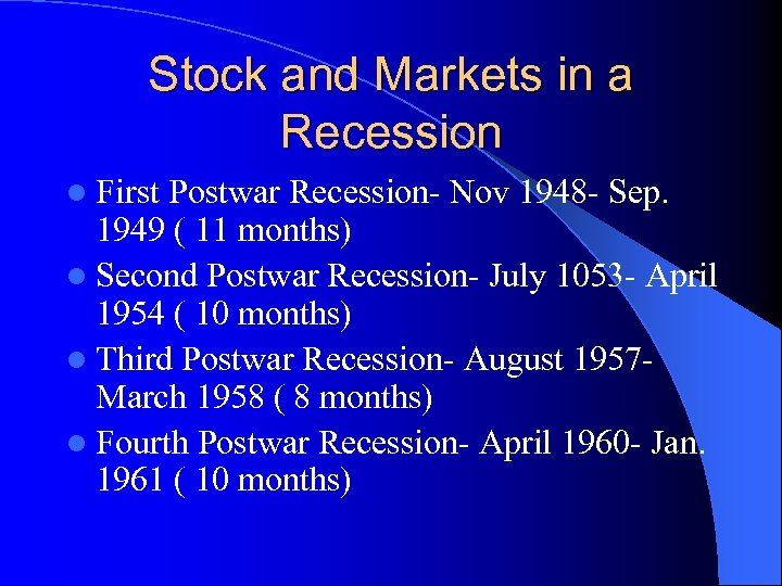 Stock and Markets in a Recession l First Postwar Recession- Nov 1948 - Sep.