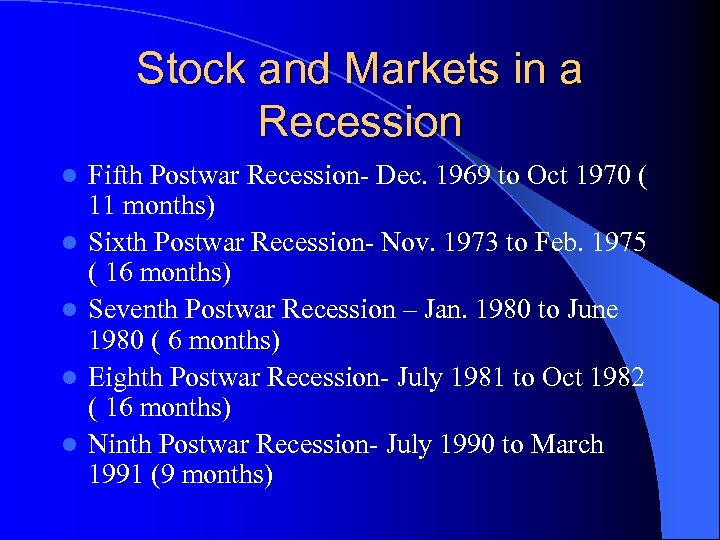 Stock and Markets in a Recession l l l Fifth Postwar Recession- Dec. 1969