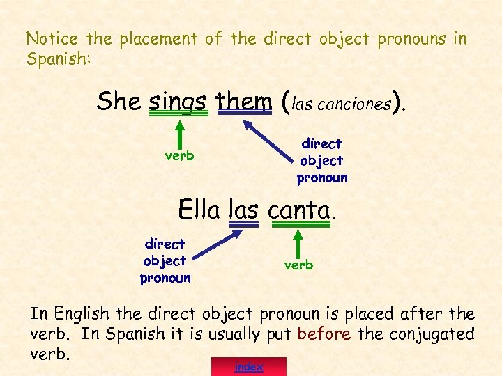 Notice the placement of the direct object pronouns in Spanish: She sings them (las