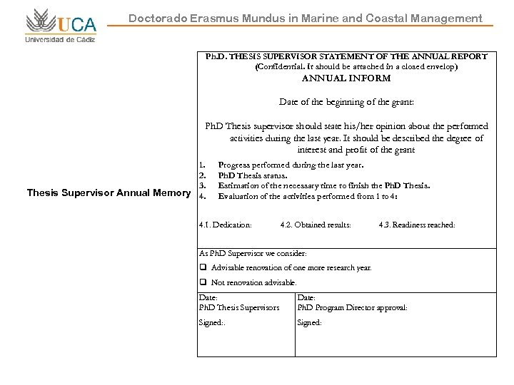 Doctorado Erasmus Mundus in Marine and Coastal Management Ph. D. THESIS SUPERVISOR STATEMENT OF