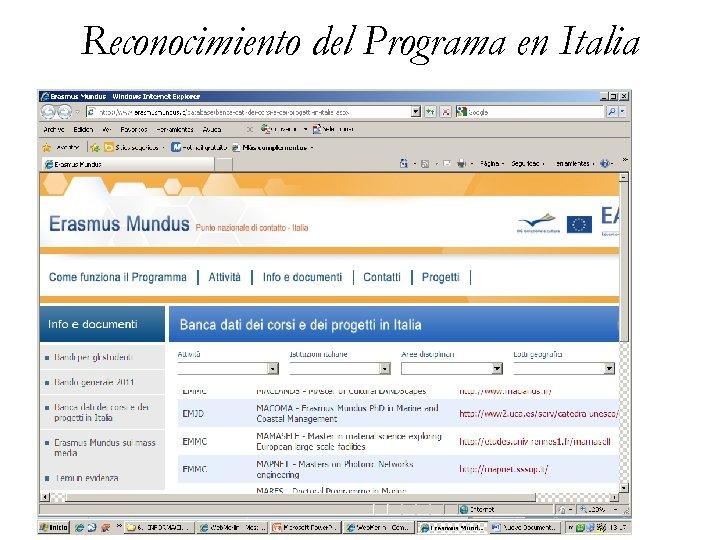 Reconocimiento del Programa en Italia 8