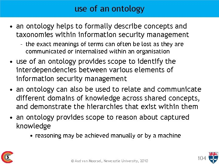 use of an ontology • an ontology helps to formally describe concepts and taxonomies
