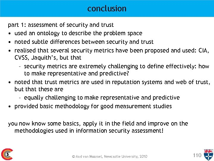 conclusion part 1: assessment of security and trust • used an ontology to describe