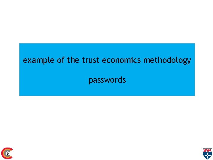 example of the trust economics methodology passwords