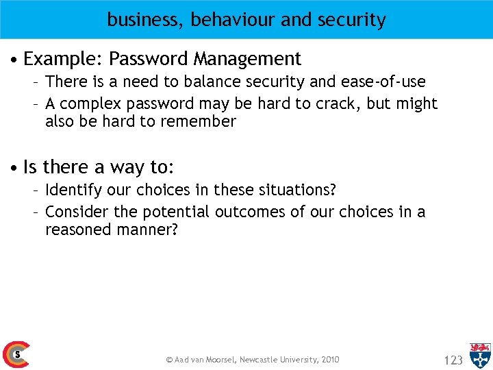 business, behaviour and security • Example: Password Management – There is a need to