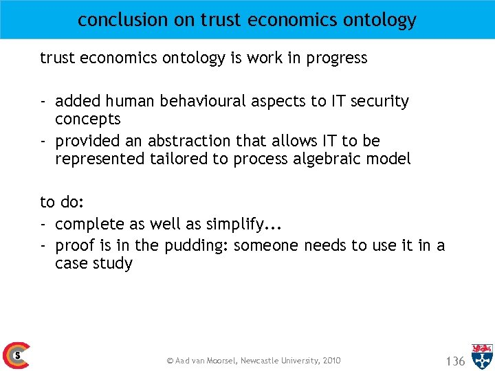 conclusion on trust economics ontology is work in progress - added human behavioural aspects