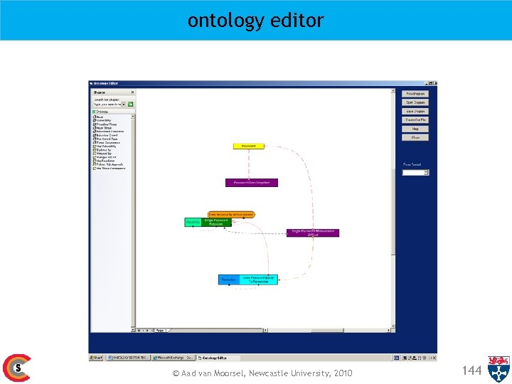 ontology editor © Aad van Moorsel, Newcastle University, 2010 144