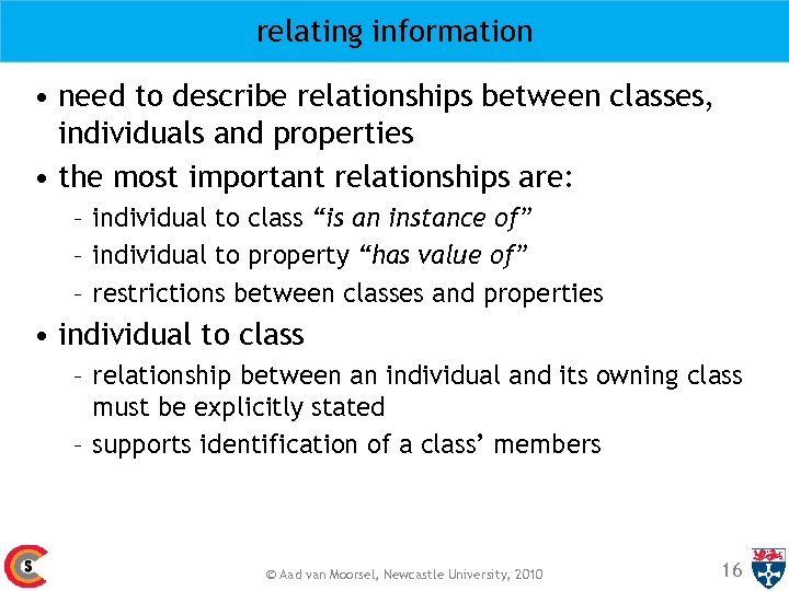 relating information • need to describe relationships between classes, individuals and properties • the
