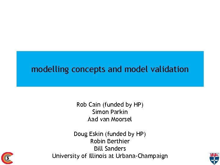 modelling concepts and model validation Rob Cain (funded by HP) Simon Parkin Aad van