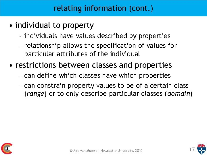 relating information (cont. ) • individual to property – individuals have values described by