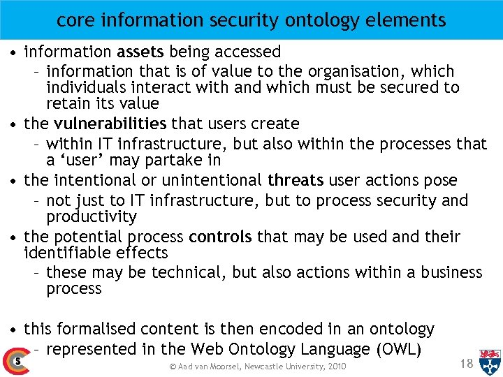 core information security ontology elements • information assets being accessed – information that is
