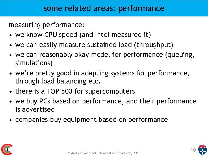 some related areas: performance measuring performance: • we know CPU speed (and Intel measured