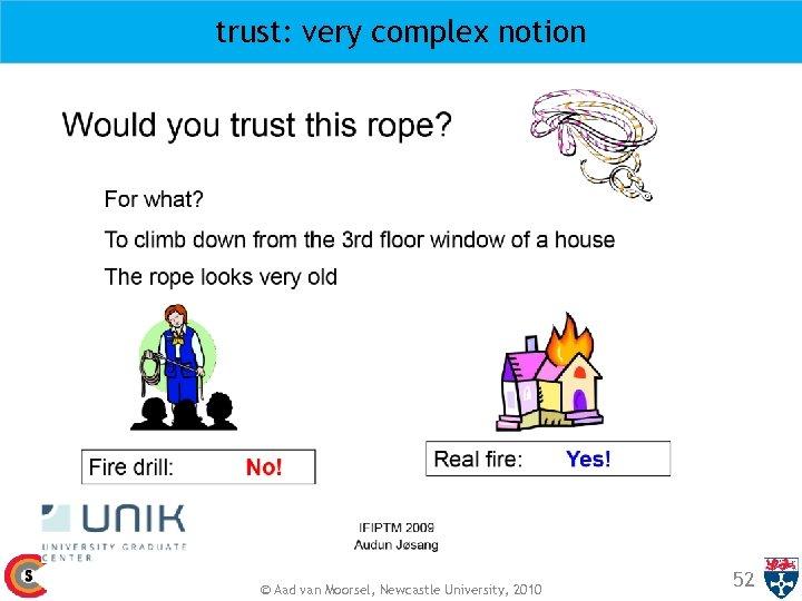 trust: very complex notion © Aad van Moorsel, Newcastle University, 2010 52