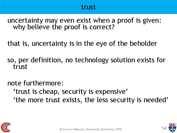 trust uncertainty may even exist when a proof is given: why believe the proof