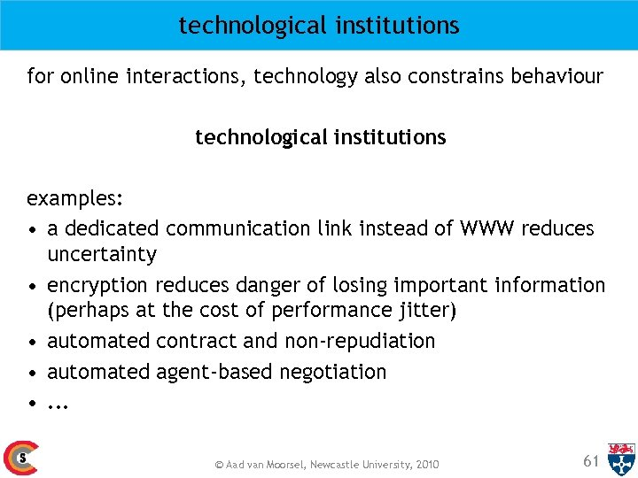 technological institutions for online interactions, technology also constrains behaviour technological institutions examples: • a
