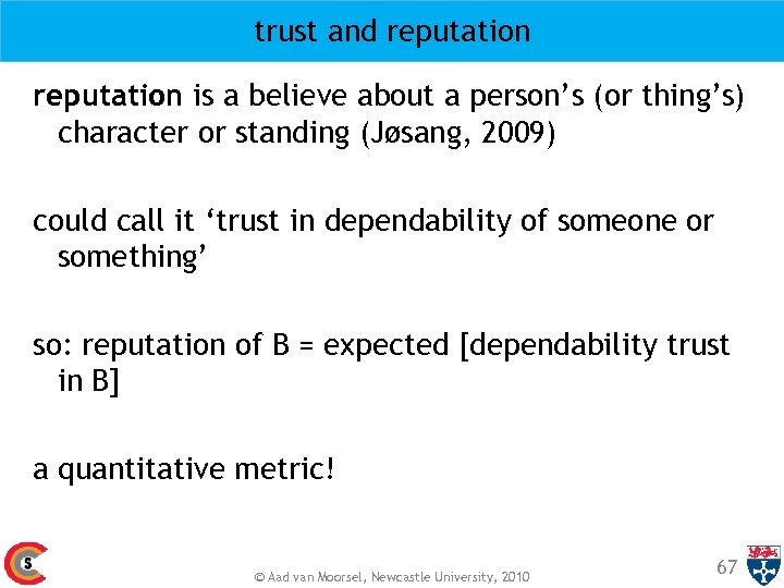 trust and reputation is a believe about a person's (or thing's) character or standing