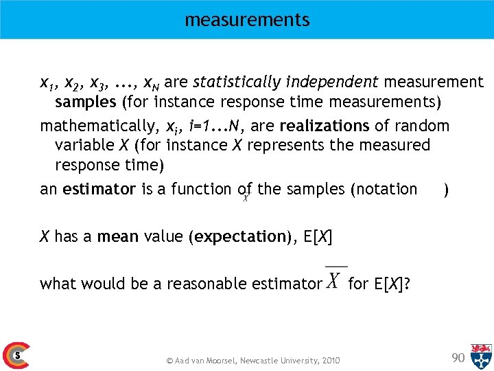 measurements x 1, x 2, x 3, . . . , x. N are