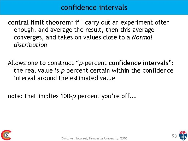 confidence intervals central limit theorem: if I carry out an experiment often enough, and