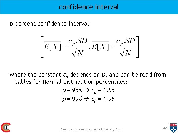 confidence interval p-percent confidence interval: where the constant cp depends on p, and can