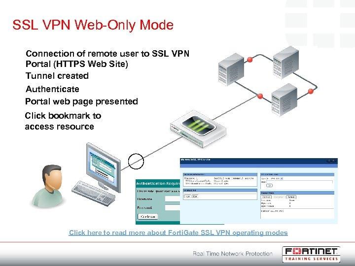 SSL VPN Web-Only Mode Connection of remote user to SSL VPN Portal (HTTPS Web