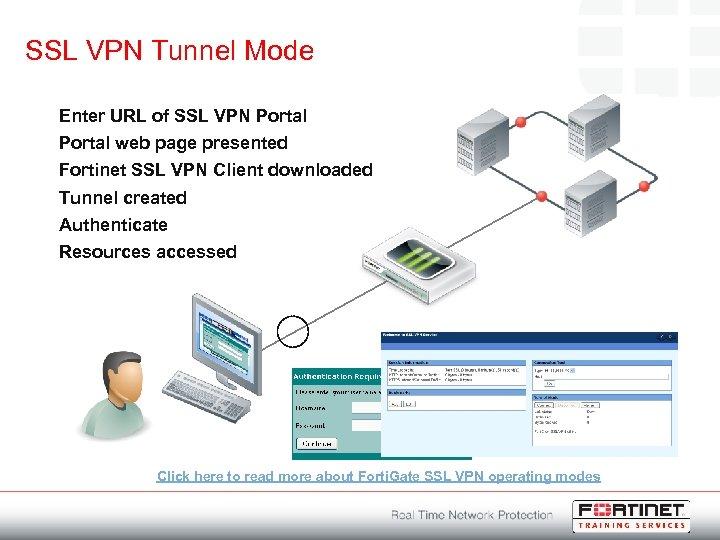 SSL VPN Tunnel Mode Enter URL of SSL VPN Portal web page presented Fortinet