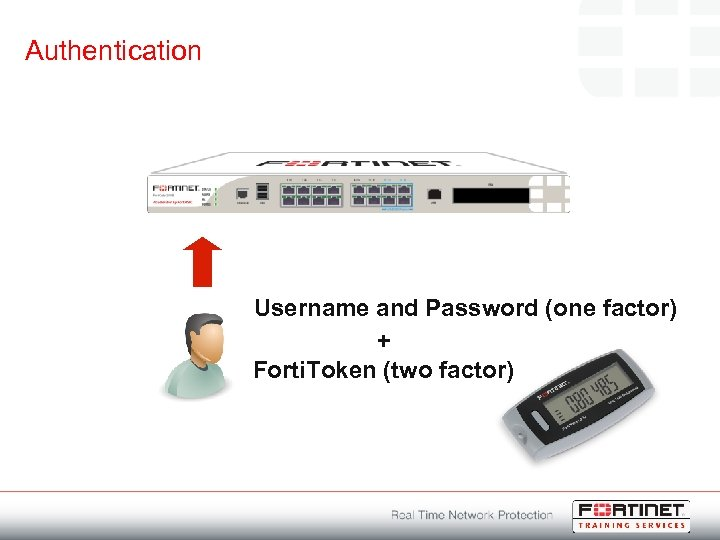 Authentication Username and Password (one factor) + Forti. Token (two factor)