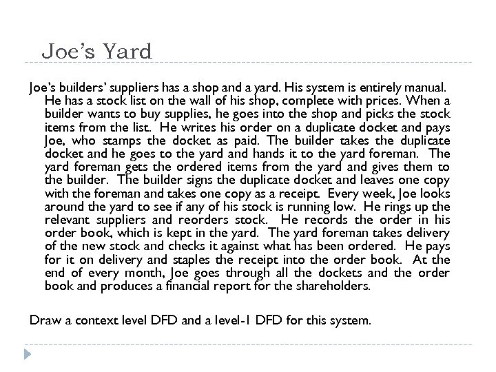 Joe's Yard Joe's builders' suppliers has a shop and a yard. His system is