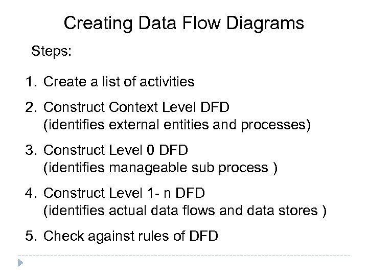 Creating Data Flow Diagrams Steps: 1. Create a list of activities 2. Construct Context