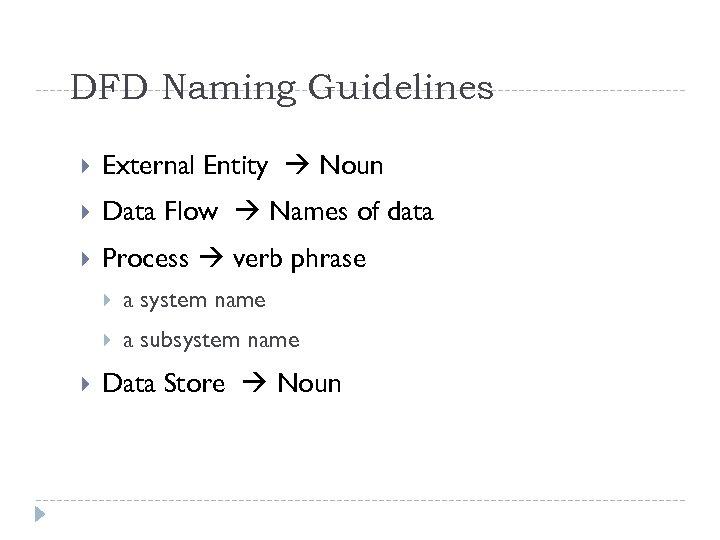 DFD Naming Guidelines External Entity Noun Data Flow Names of data Process verb phrase