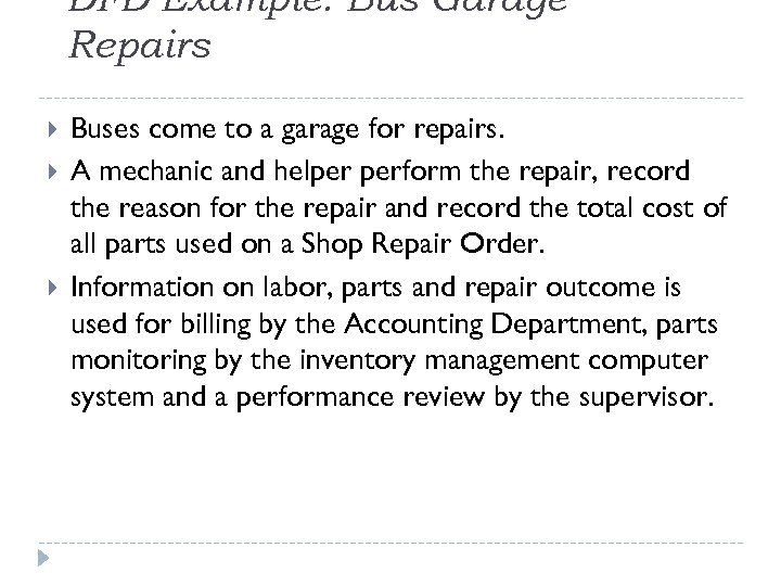 DFD Example: Bus Garage Repairs Buses come to a garage for repairs. A mechanic