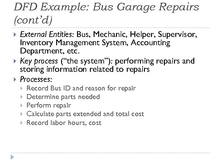 DFD Example: Bus Garage Repairs (cont'd) External Entities: Bus, Mechanic, Helper, Supervisor, Inventory Management