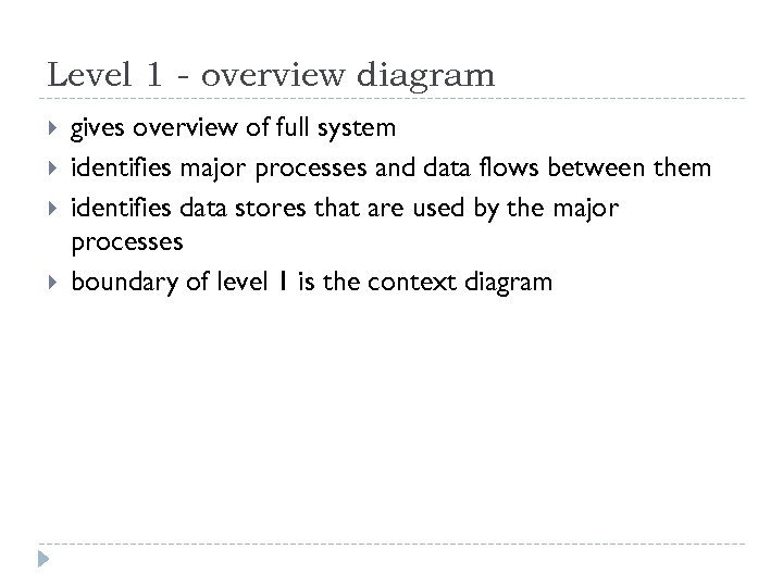 Level 1 - overview diagram gives overview of full system identifies major processes and