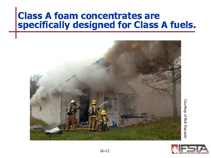 Class A foam concentrates are specifically designed for Class A fuels. Courtesy of Bob