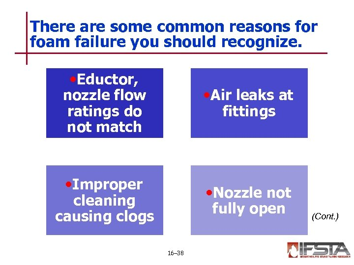 There are some common reasons for foam failure you should recognize. • Eductor, •
